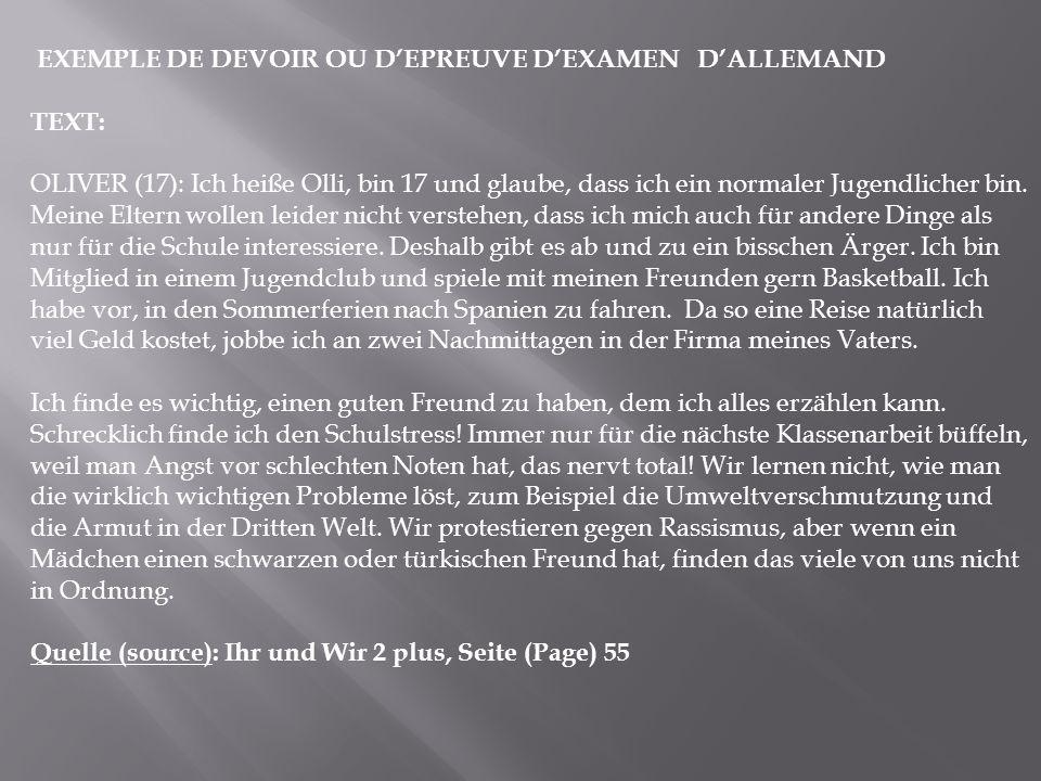 EXEMPLE DE DEVOIR OU D'EPREUVE D'EXAMEN D'ALLEMAND