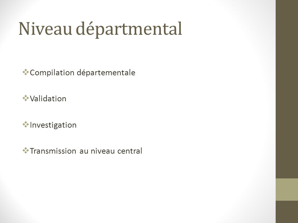 Niveau départmental Compilation départementale Validation