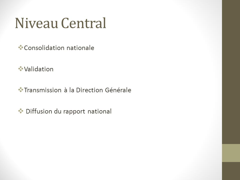 Niveau Central Consolidation nationale Validation