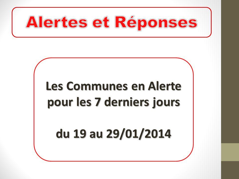 Les Communes en Alerte pour les 7 derniers jours du 19 au 29/01/2014