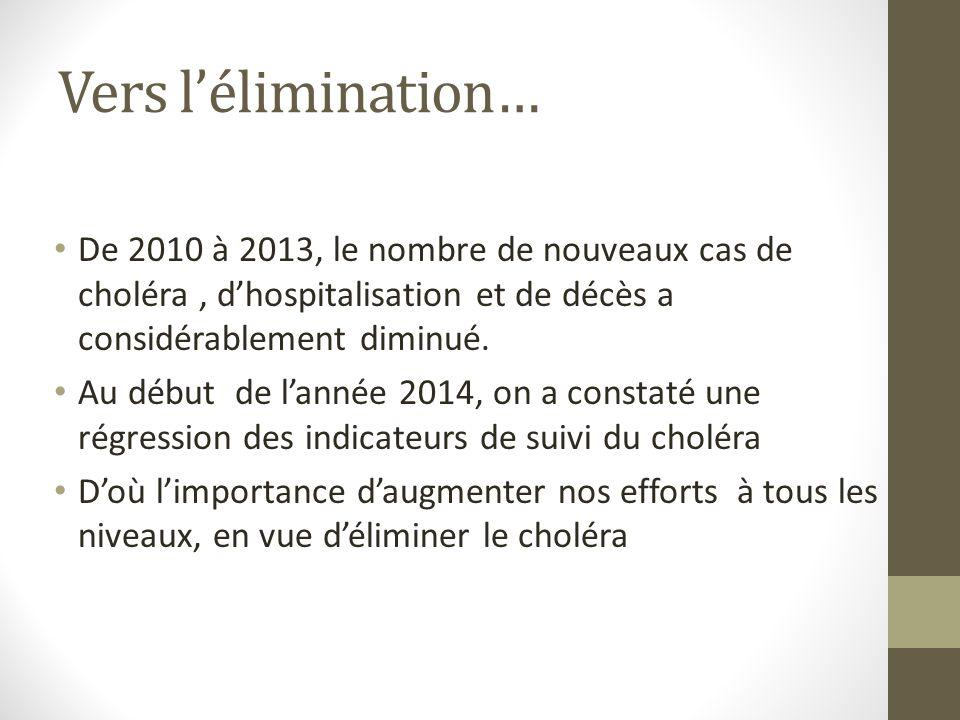 Vers l'élimination… De 2010 à 2013, le nombre de nouveaux cas de choléra , d'hospitalisation et de décès a considérablement diminué.