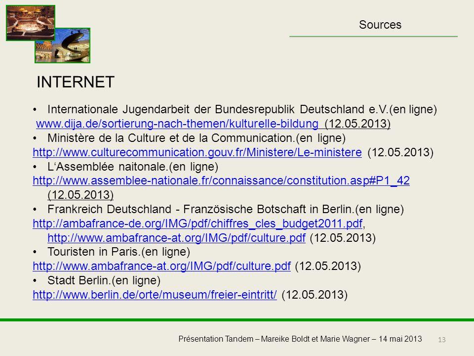Sources INTERNET. Internationale Jugendarbeit der Bundesrepublik Deutschland e.V.(en ligne)