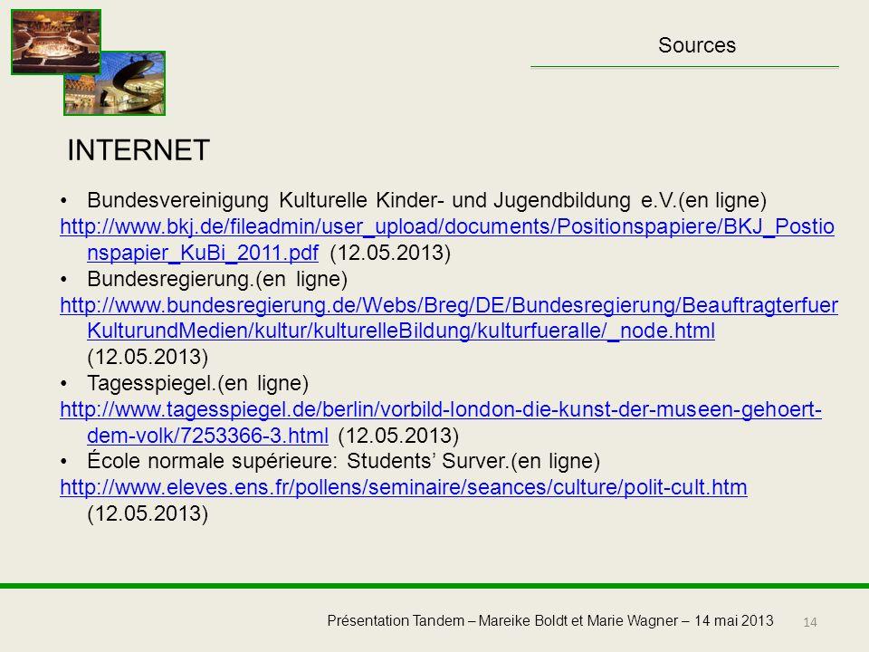 Sources INTERNET. Bundesvereinigung Kulturelle Kinder- und Jugendbildung e.V.(en ligne)