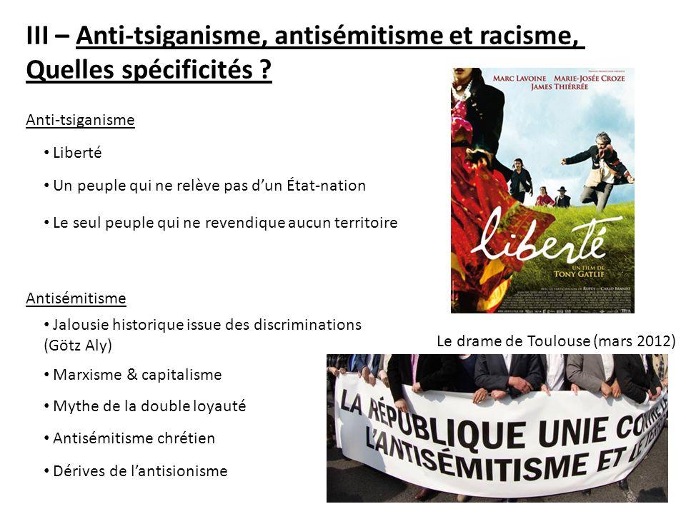 III – Anti-tsiganisme, antisémitisme et racisme,