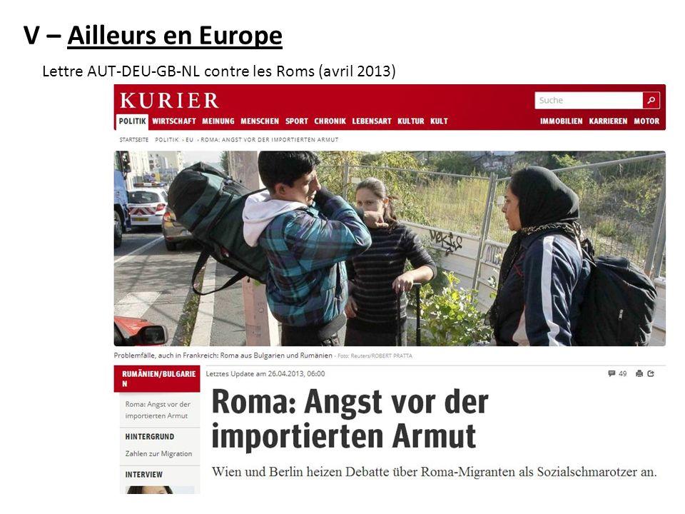 V – Ailleurs en Europe Lettre AUT-DEU-GB-NL contre les Roms (avril 2013)