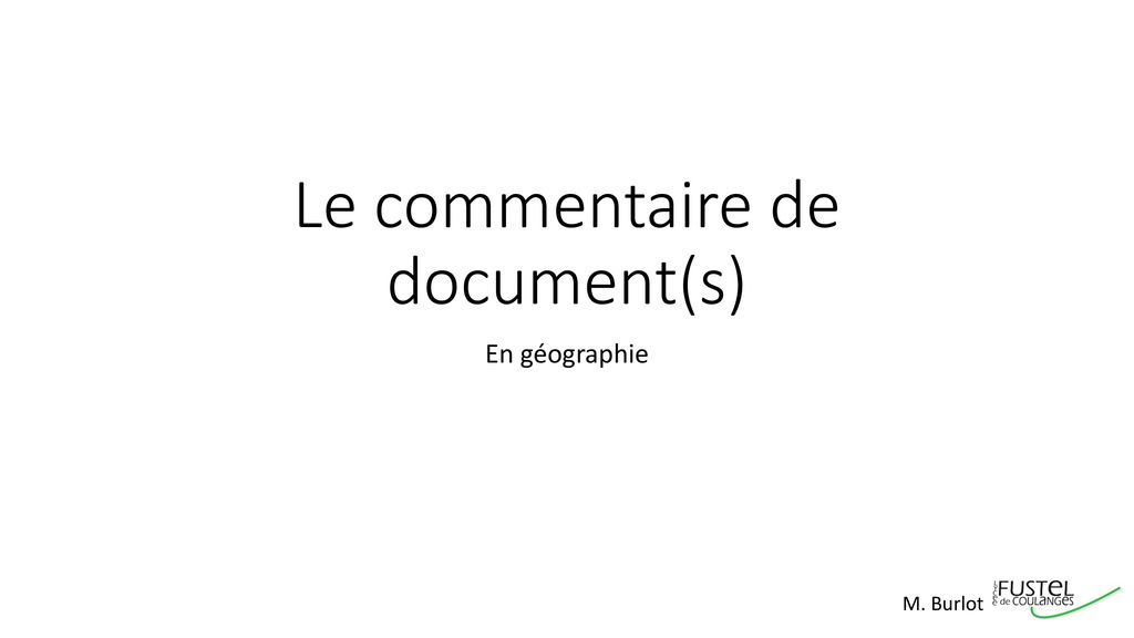 Le commentaire de document(s)
