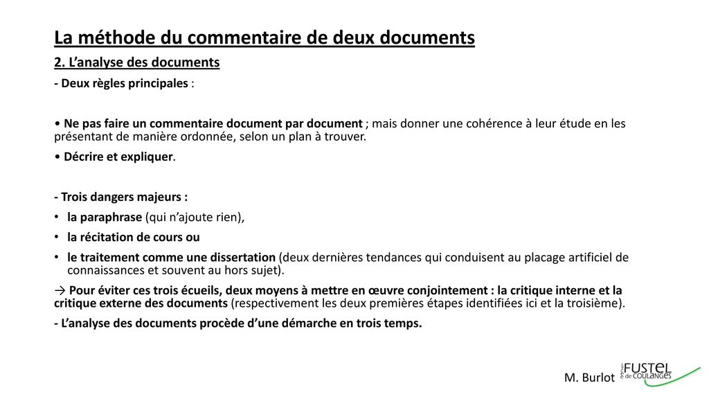 La méthode du commentaire de deux documents