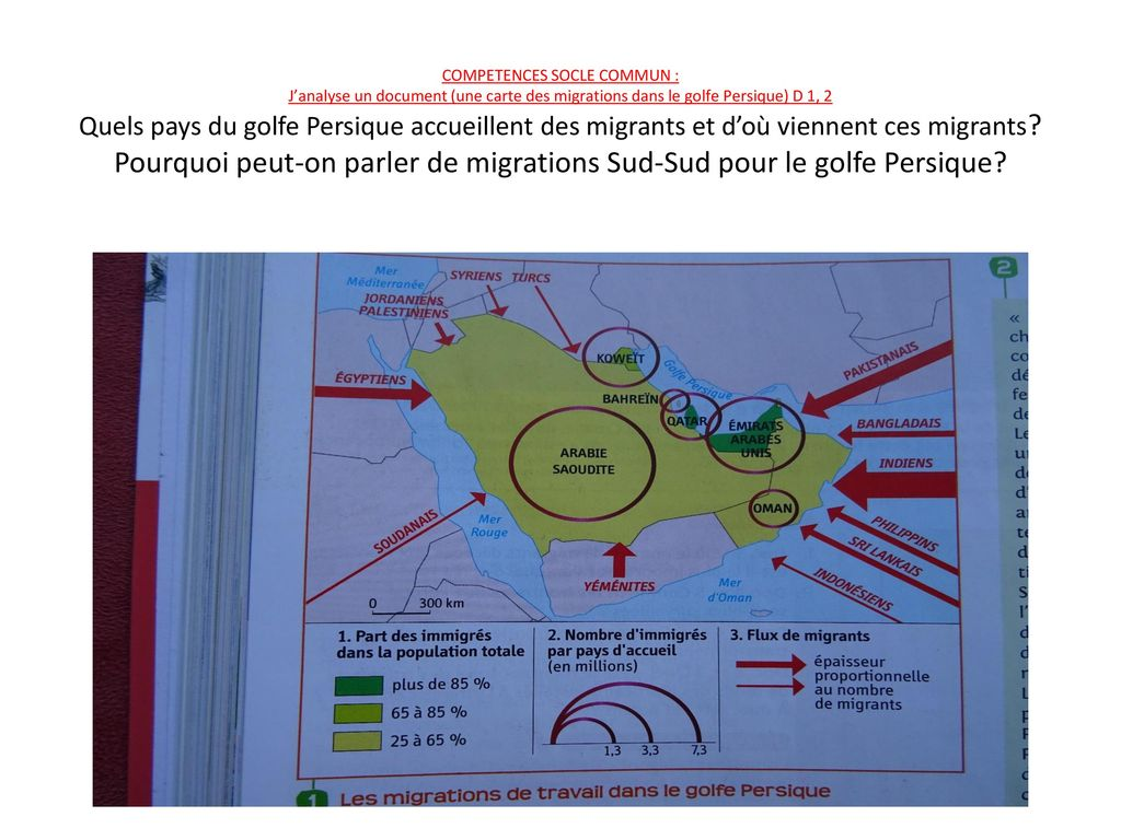 competences socle commun   j u2019analyse un document  une carte des migrations dans le golfe