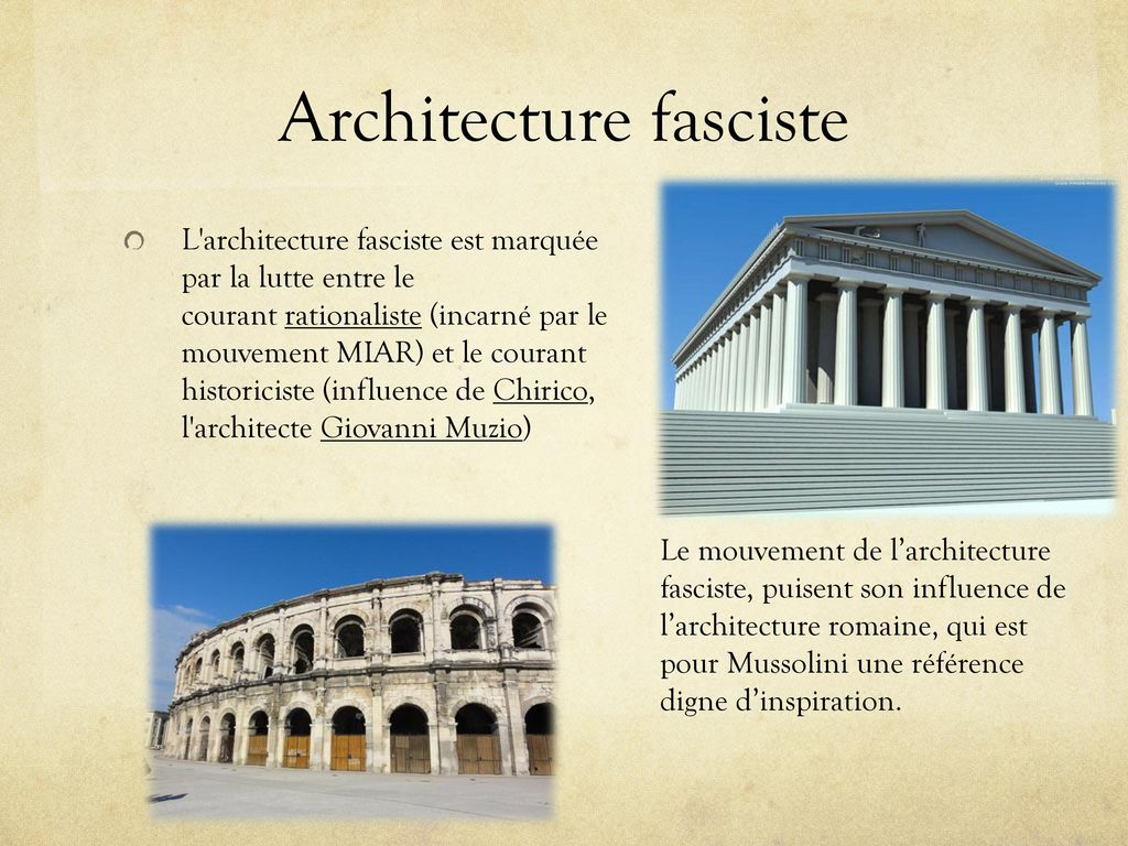 Fascismo architettura ppt t l charger for Architecture totalitaire