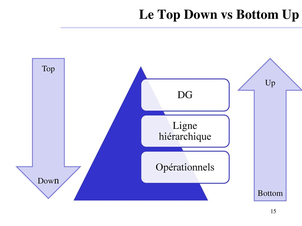 Le Top Down vs Bottom Up DG Ligne hiérarchique Opérationnels Top Up