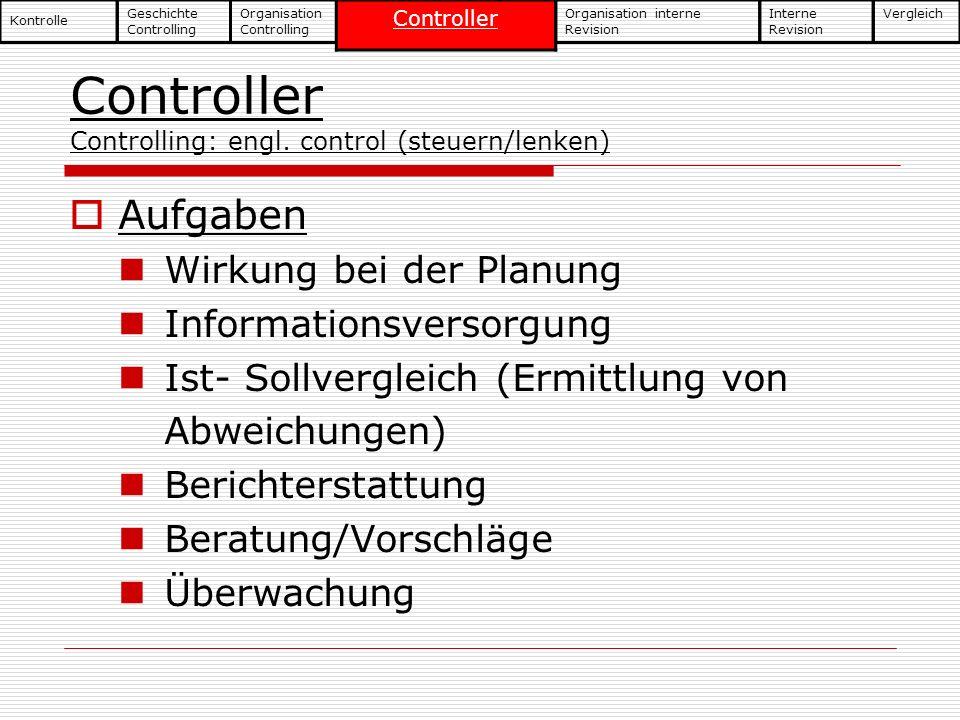 Controller Controlling: engl. control (steuern/lenken)