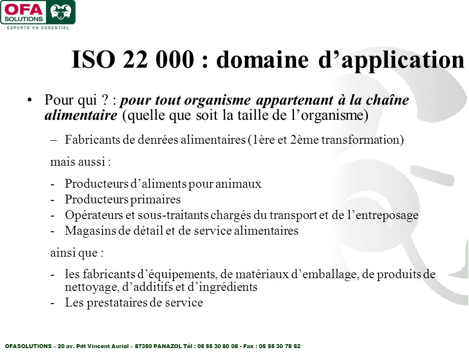 ISO 22 000 : domaine d'application
