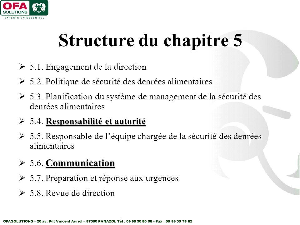Structure du chapitre 5 5.1. Engagement de la direction