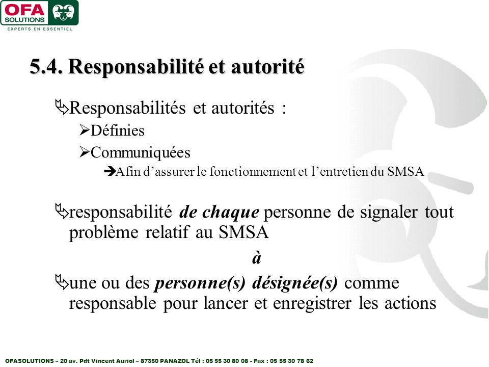 5.4. Responsabilité et autorité