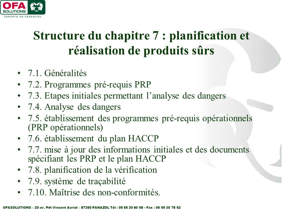 Structure du chapitre 7 : planification et réalisation de produits sûrs