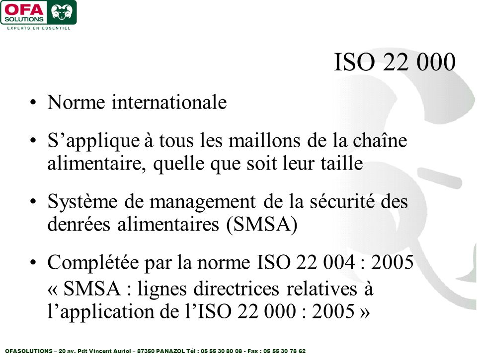 ISO 22 000 Norme internationale
