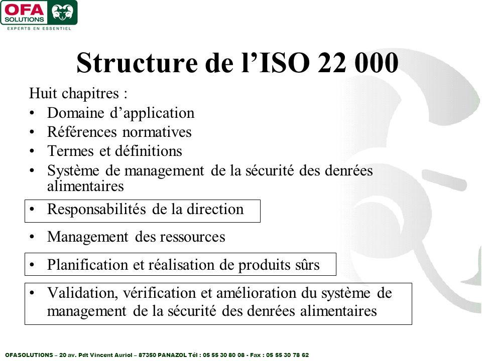Structure de l'ISO 22 000 Huit chapitres : Domaine d'application