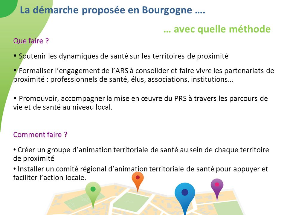 La démarche proposée en Bourgogne …. … avec quelle méthode