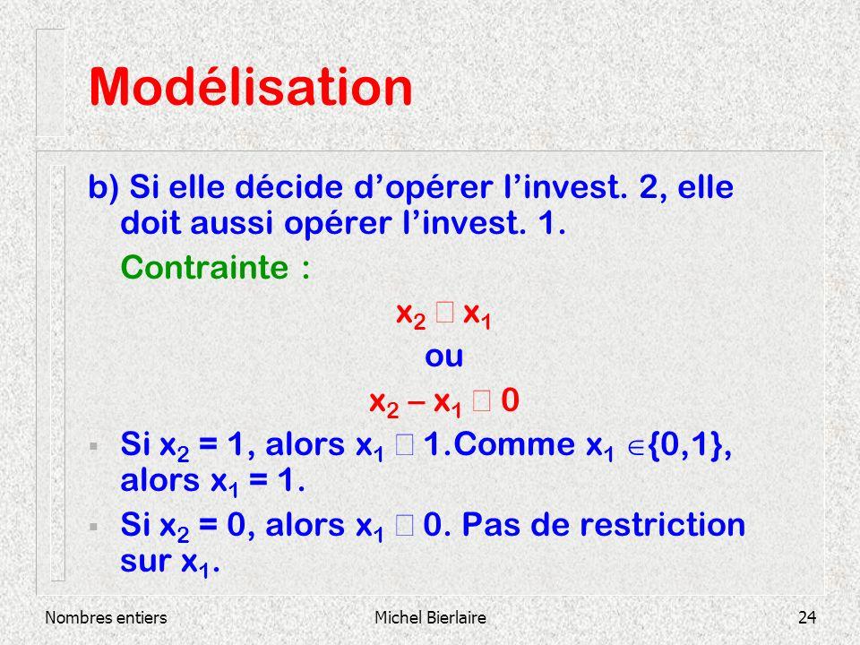 Modélisation b) Si elle décide d'opérer l'invest. 2, elle doit aussi opérer l'invest. 1. Contrainte :
