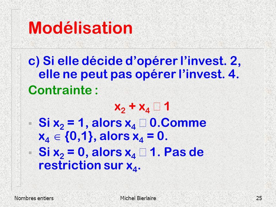 Modélisation c) Si elle décide d'opérer l'invest. 2, elle ne peut pas opérer l'invest. 4. Contrainte :