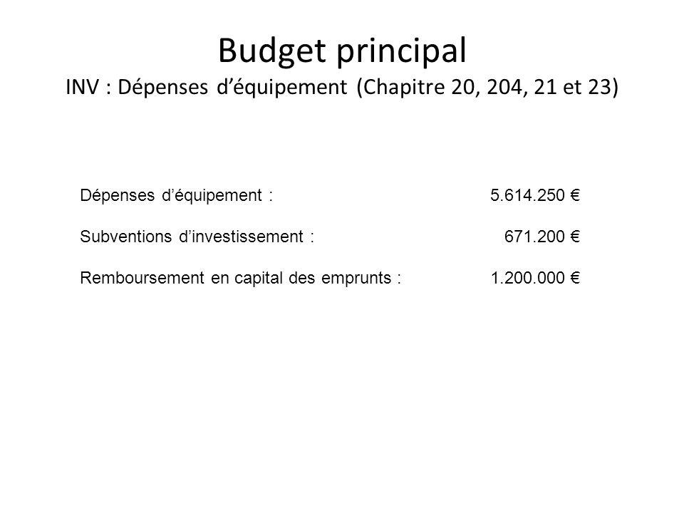 Budget principal INV : Dépenses d'équipement (Chapitre 20, 204, 21 et 23)