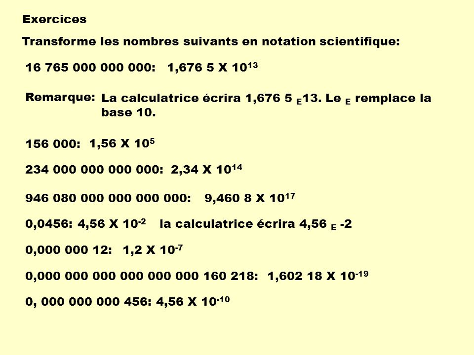Exercices Transforme les nombres suivants en notation scientifique: 16 765 000 000 000: 1,676 5 X 1013.