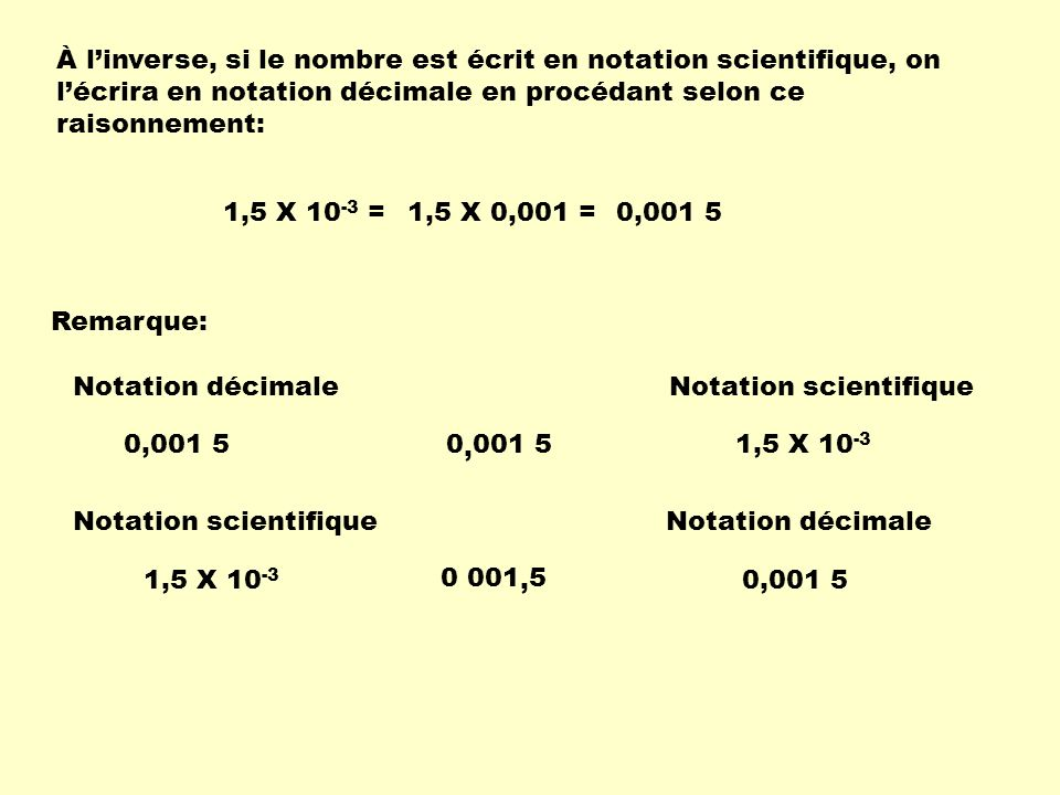 À l'inverse, si le nombre est écrit en notation scientifique, on l'écrira en notation décimale en procédant selon ce raisonnement: