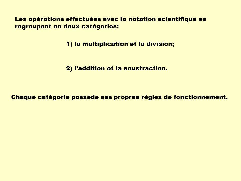 Les opérations effectuées avec la notation scientifique se regroupent en deux catégories: