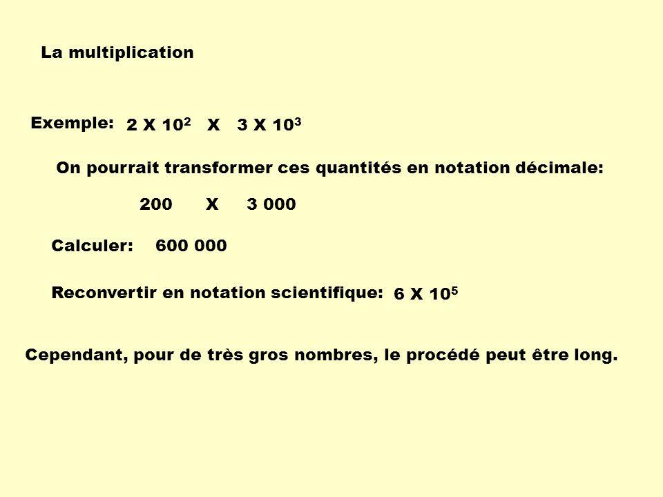 La multiplication Exemple: 2 X 102 X 3 X 103. On pourrait transformer ces quantités en notation décimale:
