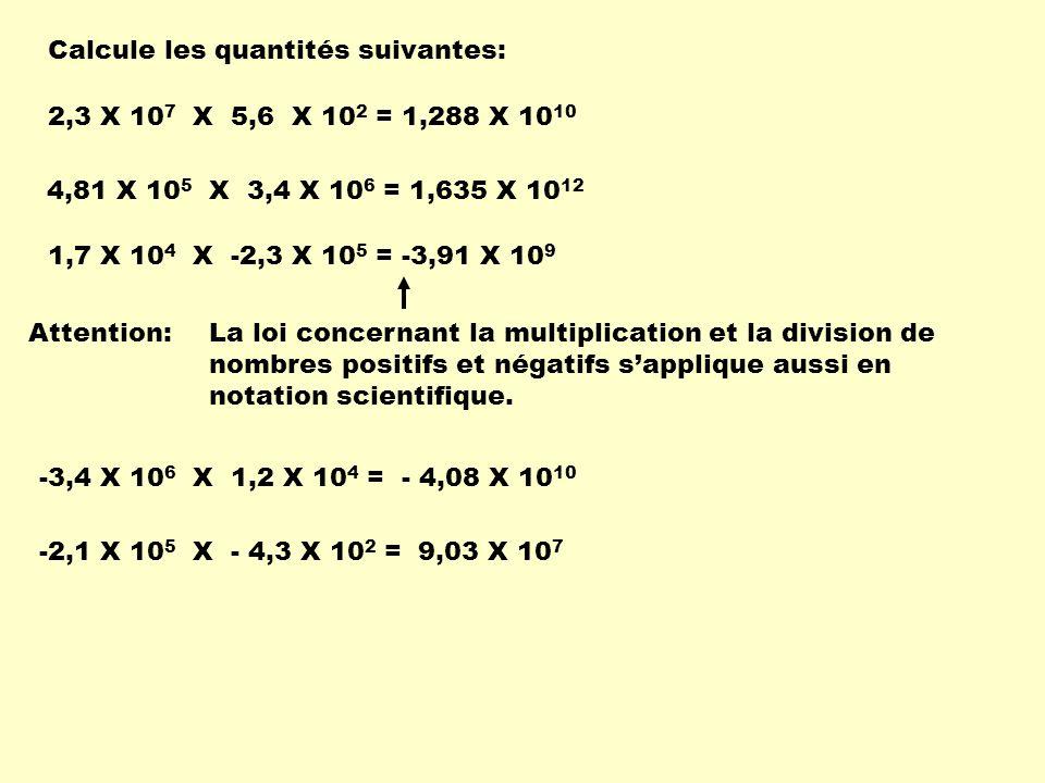 Calcule les quantités suivantes: