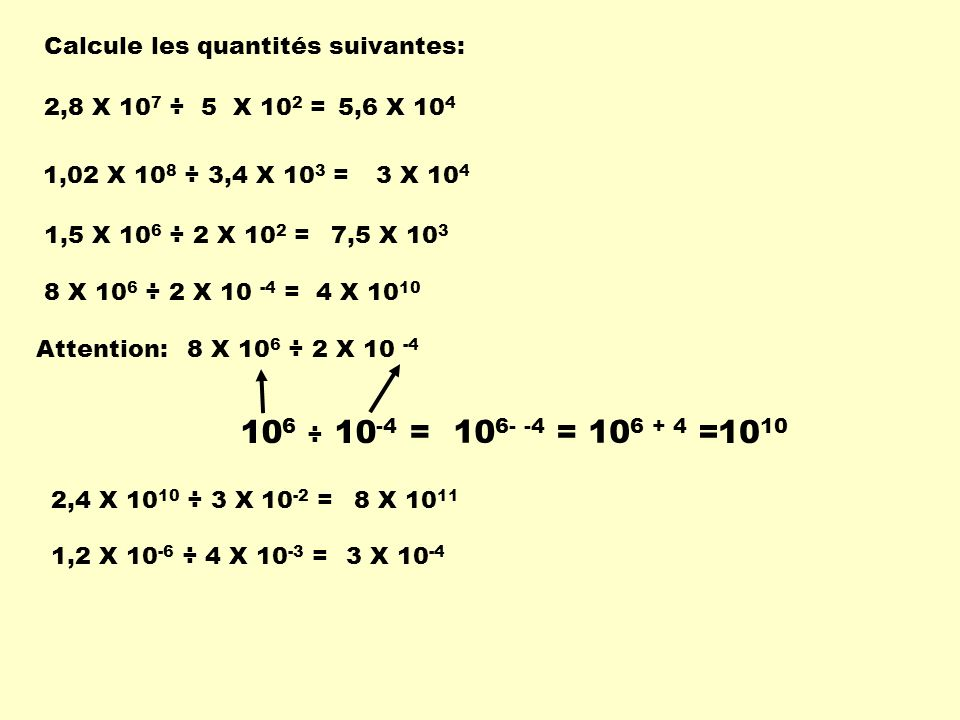 106 ÷ 10-4 = 106- -4 = 106 + 4 = 1010 Calcule les quantités suivantes: