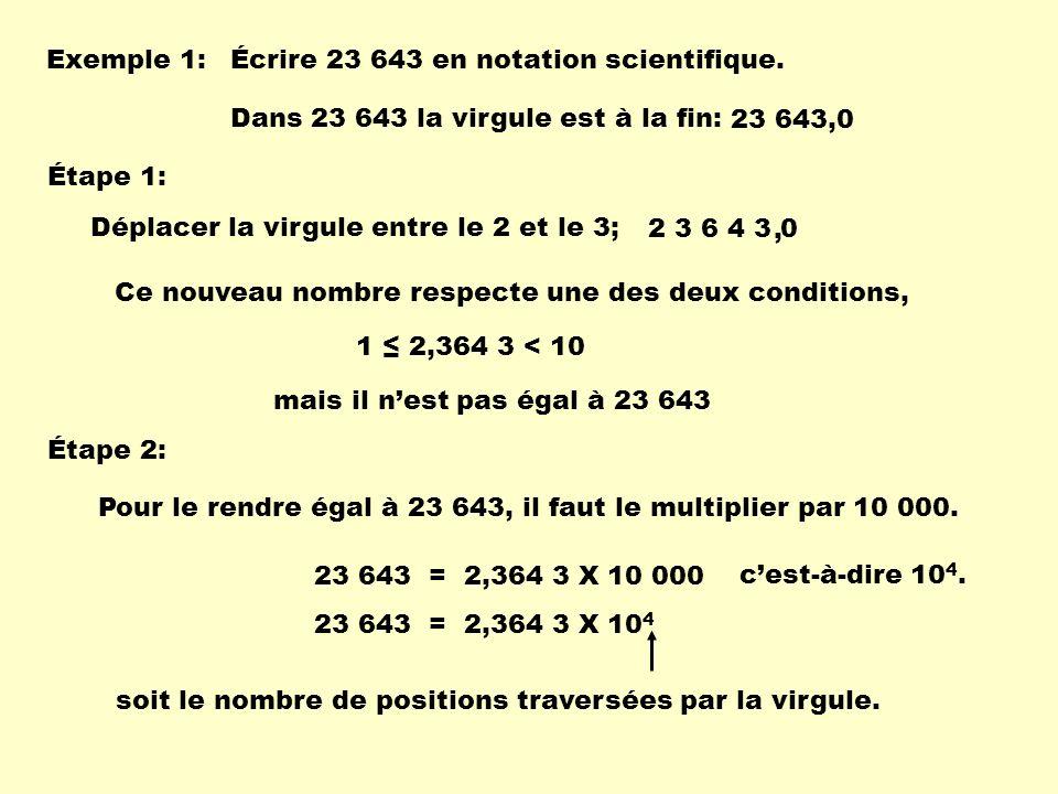 Exemple 1: Écrire 23 643 en notation scientifique. Dans 23 643 la virgule est à la fin: 23 643,0.