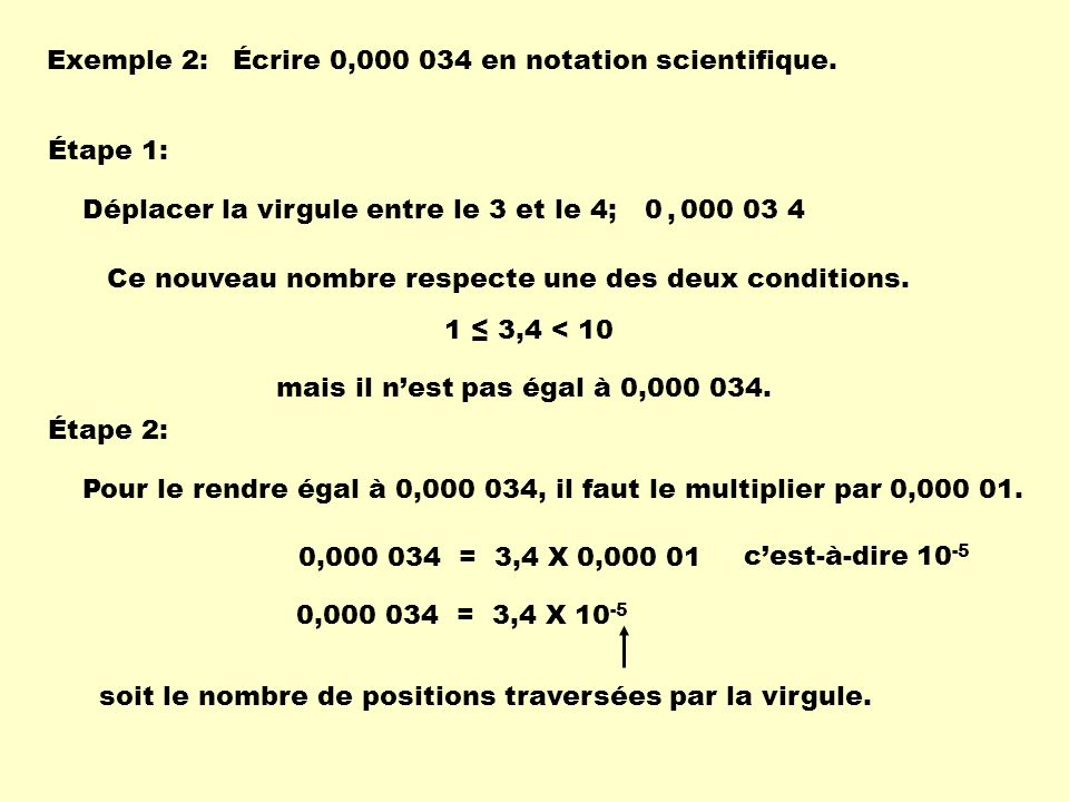 Exemple 2: Écrire 0,000 034 en notation scientifique. Étape 1: Déplacer la virgule entre le 3 et le 4;
