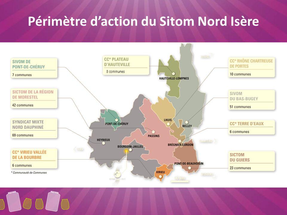 Périmètre d'action du Sitom Nord Isère