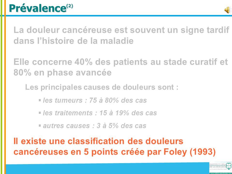 Prévalence(2) La douleur cancéreuse est souvent un signe tardif dans l'histoire de la maladie.
