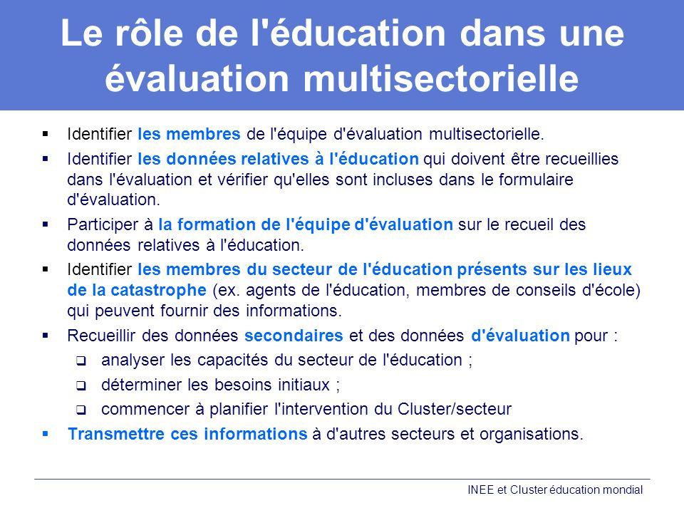 Le rôle de l éducation dans une évaluation multisectorielle