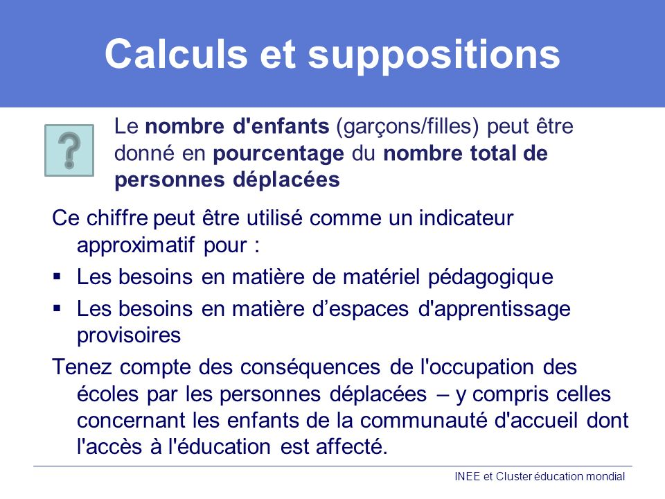 Calculs et suppositions
