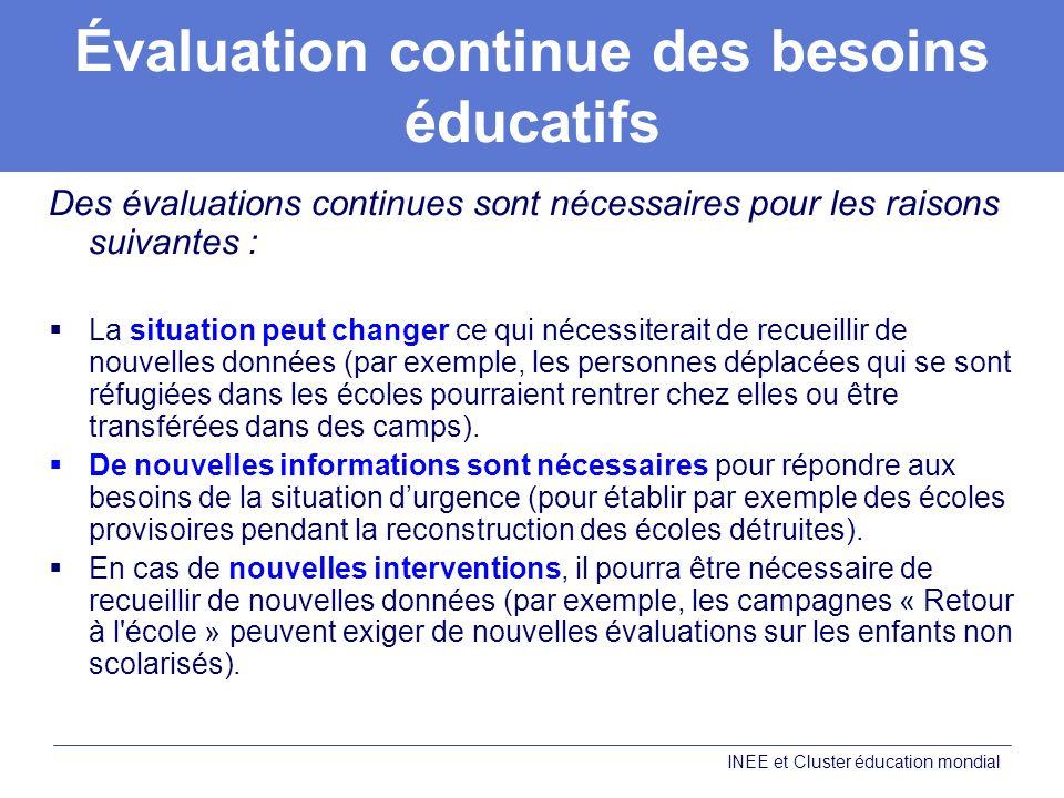 Évaluation continue des besoins éducatifs