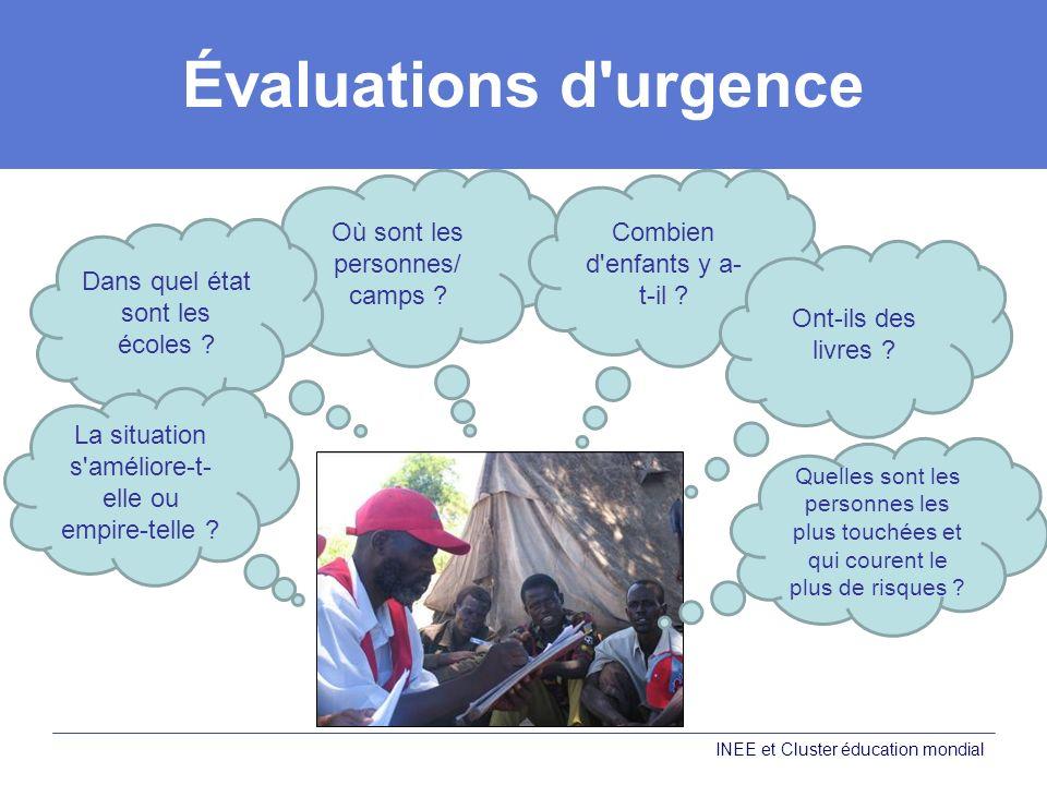 Évaluations d urgence Où sont les personnes/ camps