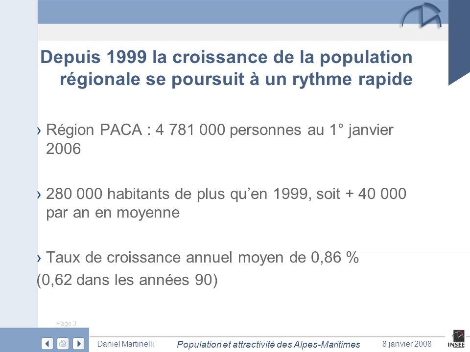 Depuis 1999 la croissance de la population régionale se poursuit à un rythme rapide