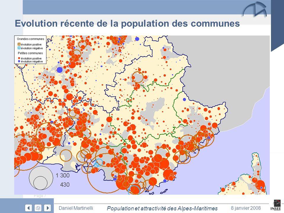 Evolution récente de la population des communes