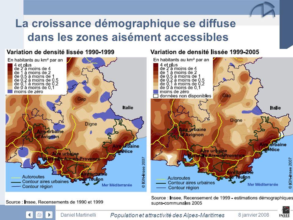 La croissance démographique se diffuse dans les zones aisément accessibles