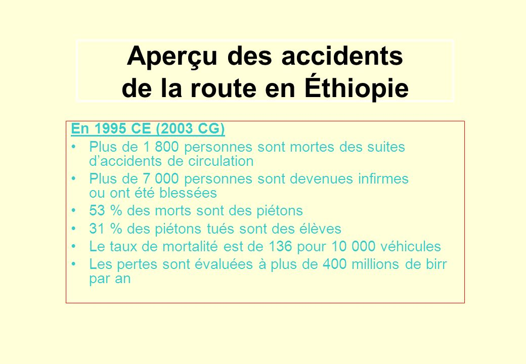 Aperçu des accidents de la route en Éthiopie