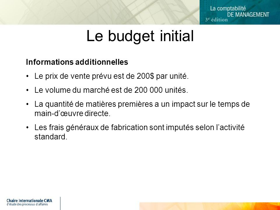 Le budget initial Informations additionnelles