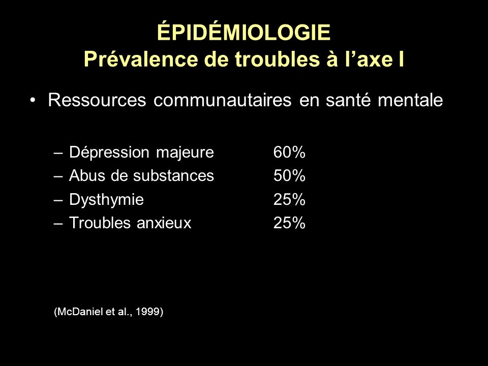 ÉPIDÉMIOLOGIE Prévalence de troubles à l'axe I