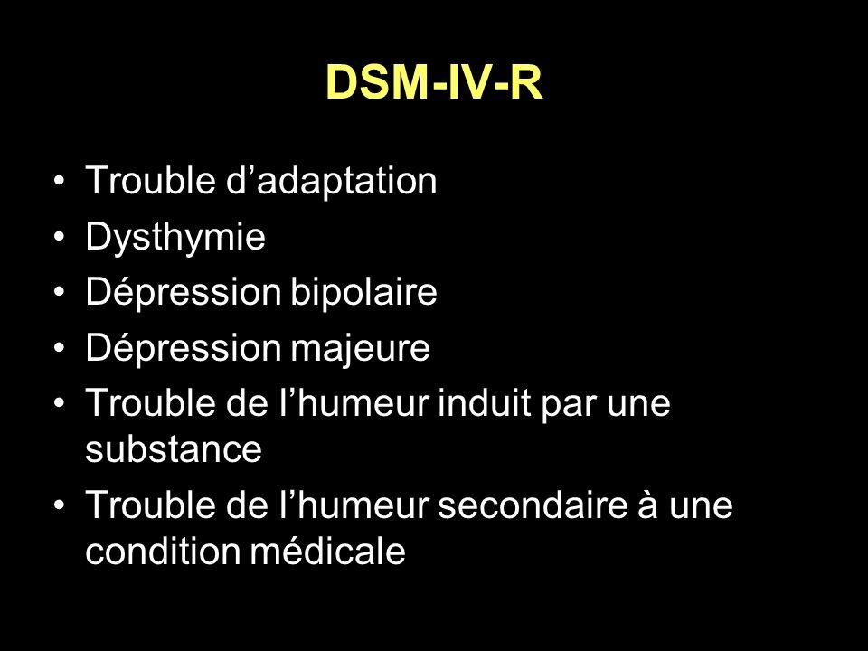 DSM-IV-R Trouble d'adaptation Dysthymie Dépression bipolaire