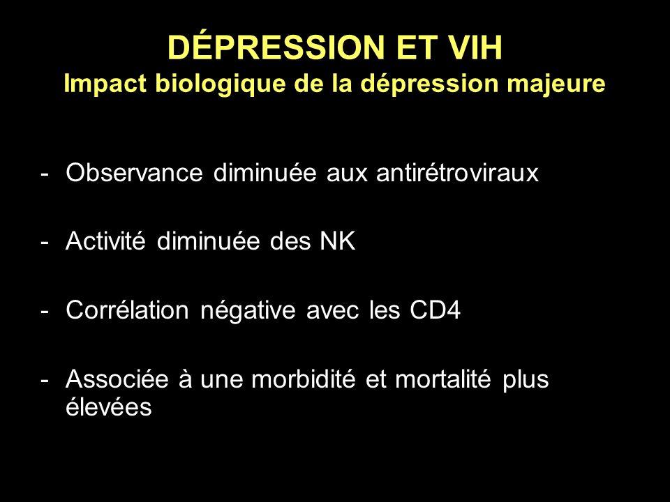 DÉPRESSION ET VIH Impact biologique de la dépression majeure