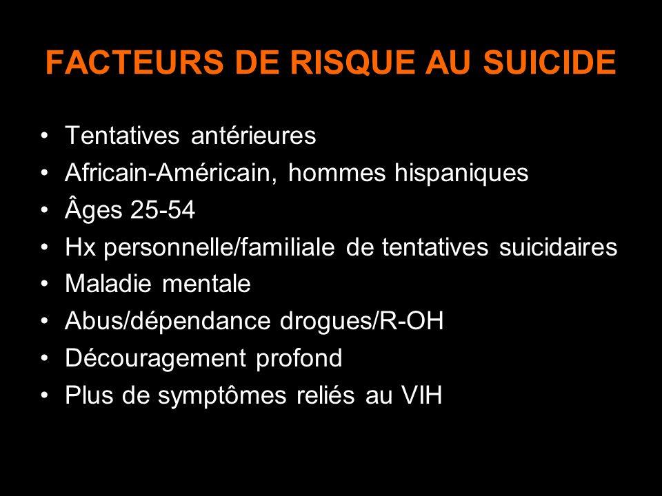 FACTEURS DE RISQUE AU SUICIDE