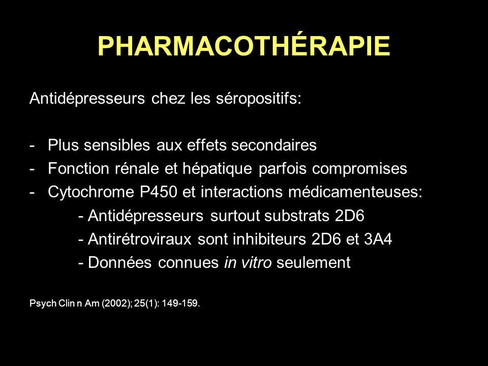 PHARMACOTHÉRAPIE Antidépresseurs chez les séropositifs: