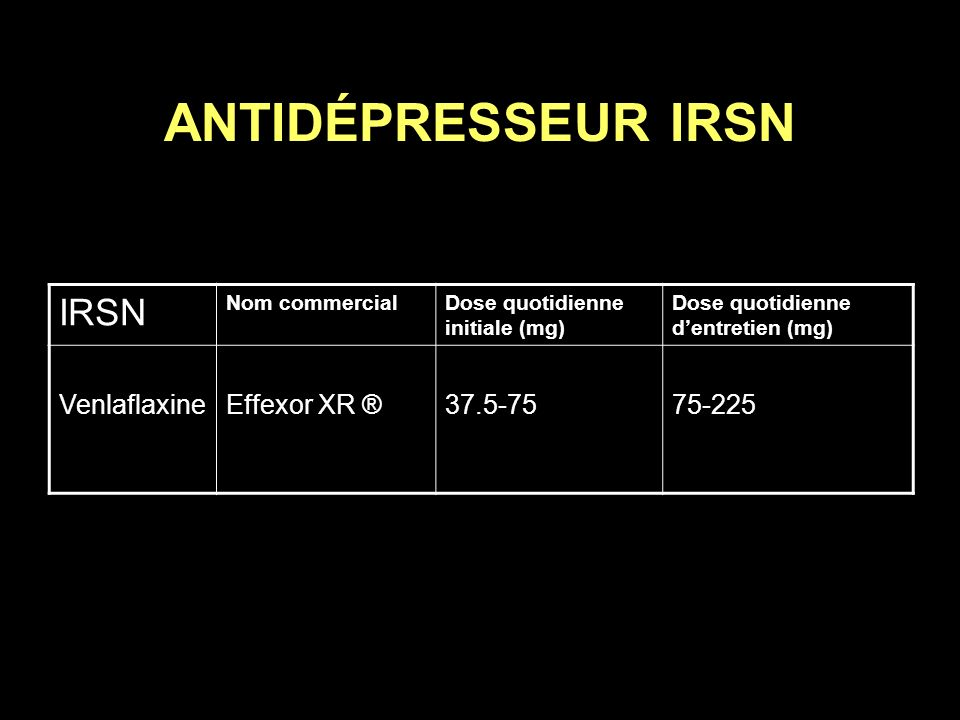 ANTIDÉPRESSEUR IRSN IRSN Venlaflaxine Effexor XR ® 37.5-75 75-225